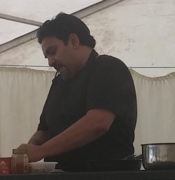 Raz doing cookery demo at Woollaton Park