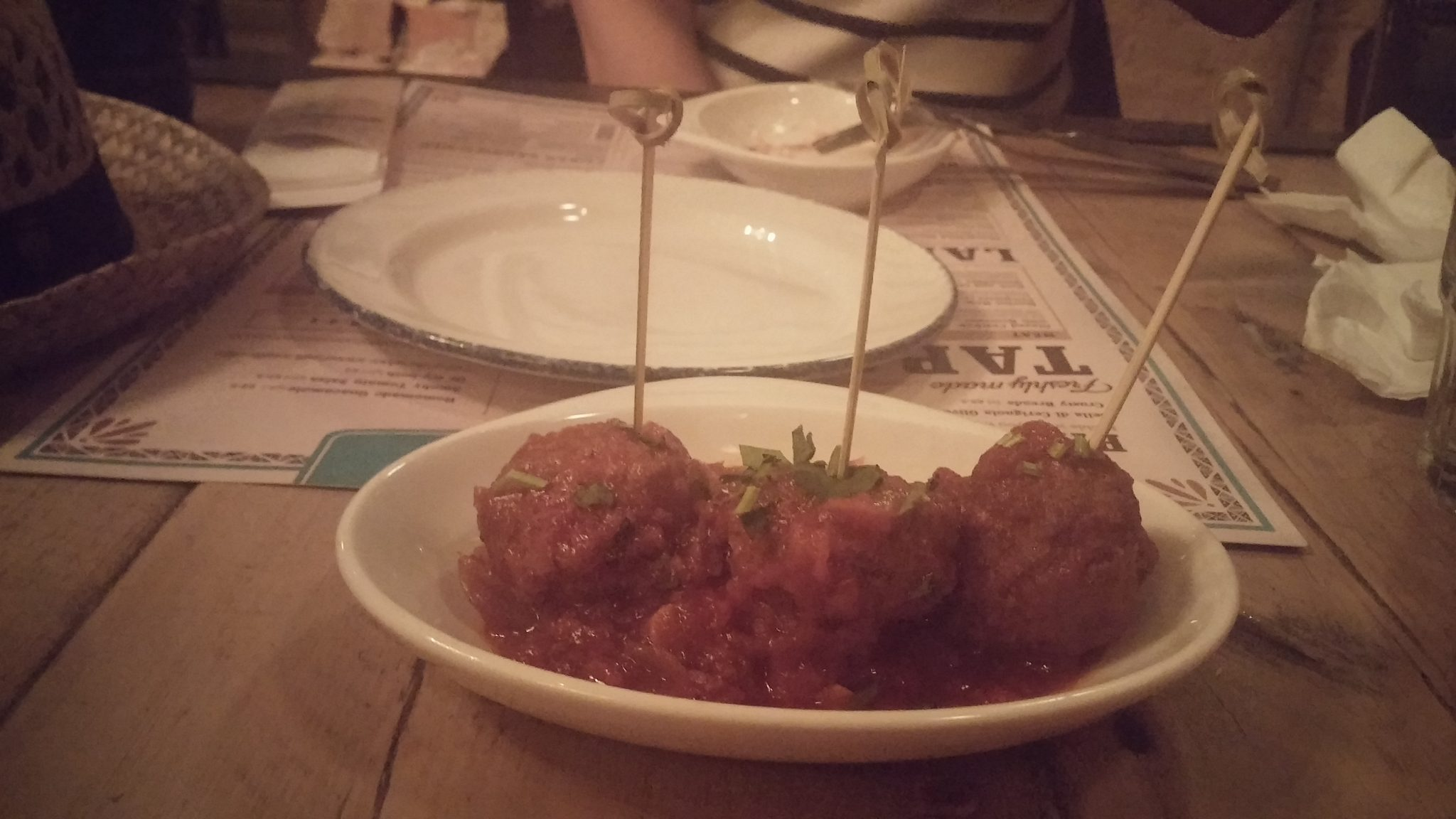 beef, chorizo and pork meatballs served with spicy tomato sauce