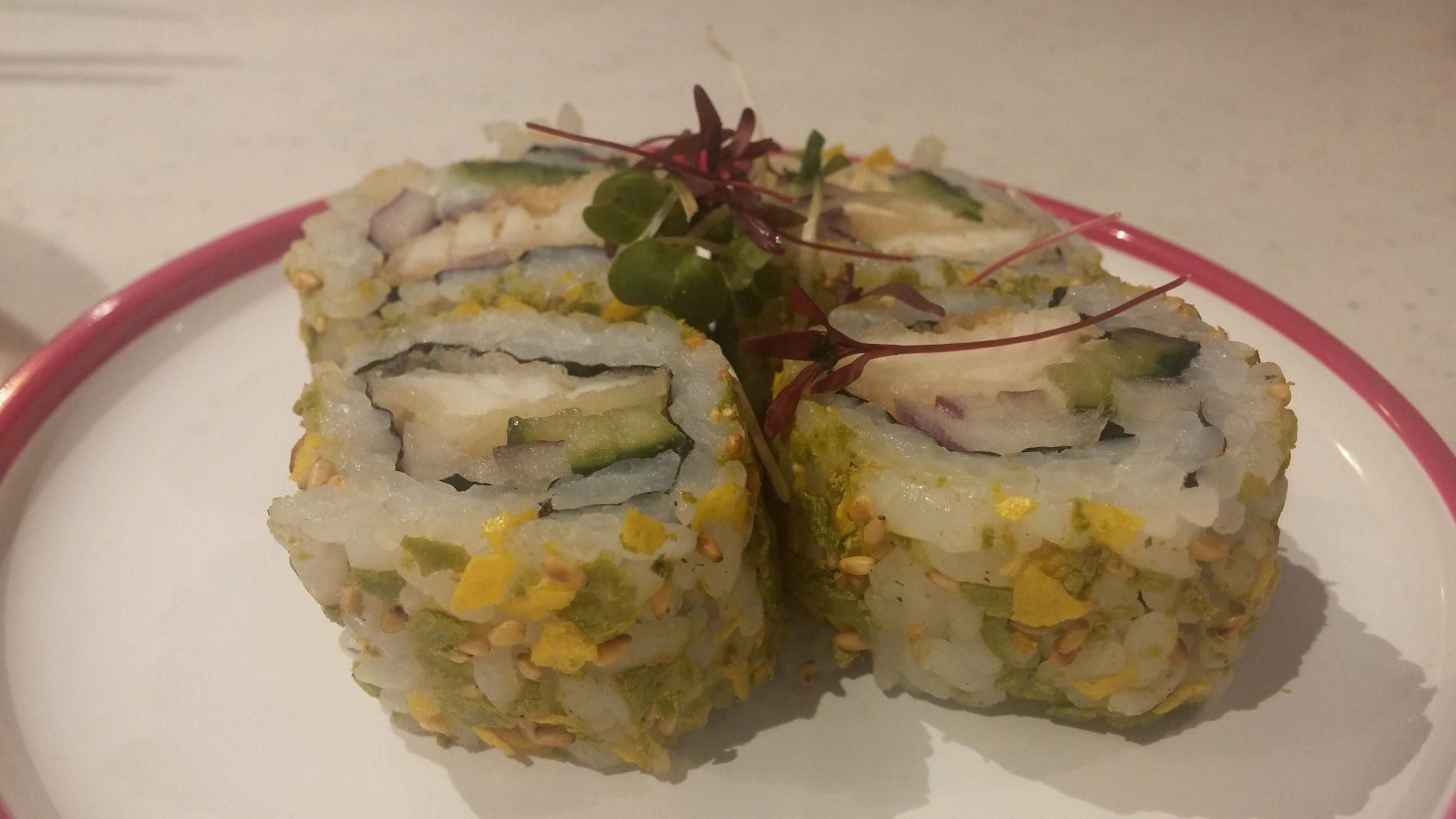 Yo! Sushi new menu, Intu Derby. (sea bass tempura, onion, cucumber, wasabi sauce, nori roll, citrus yuzu furikake)