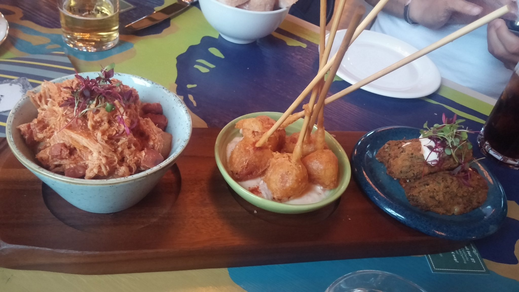 (left to right: pulled chicken, beer battered chorizo, more croquettes)