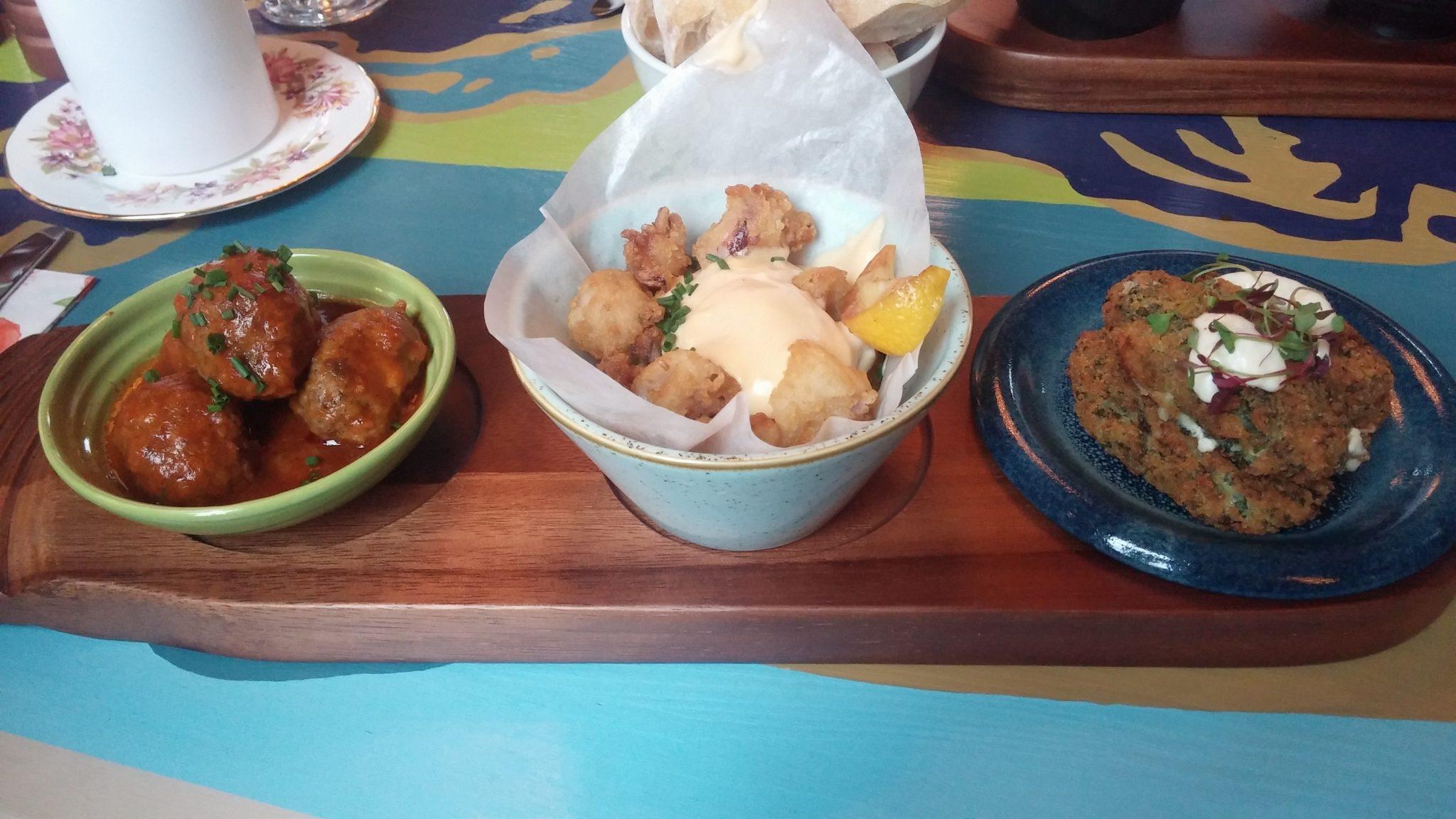 (left to right: meatballs, squid, croquettes)
