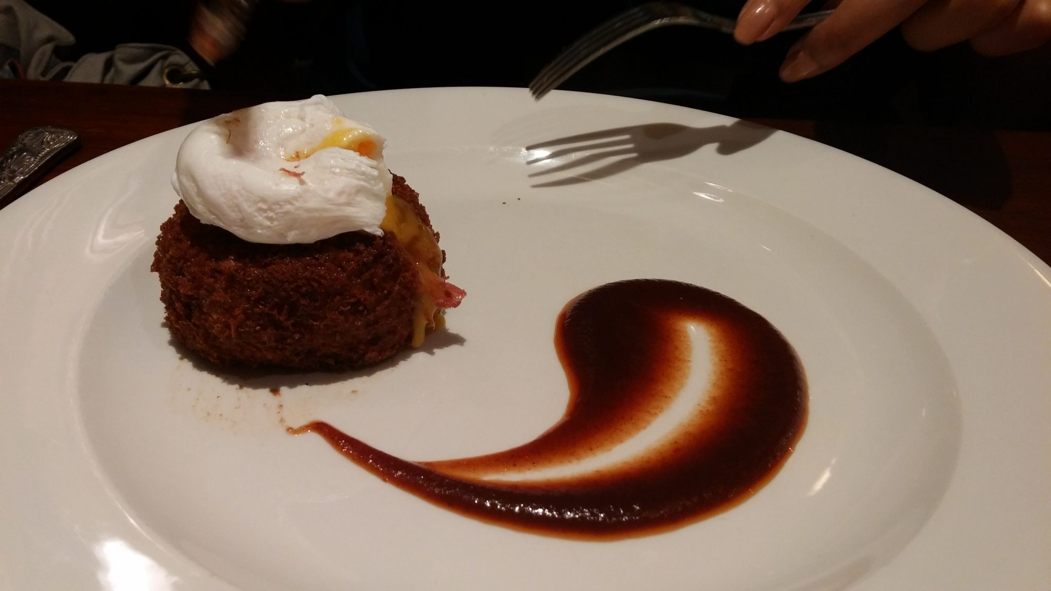 Corned Beef Hash Cake, poached egg, brown sauce