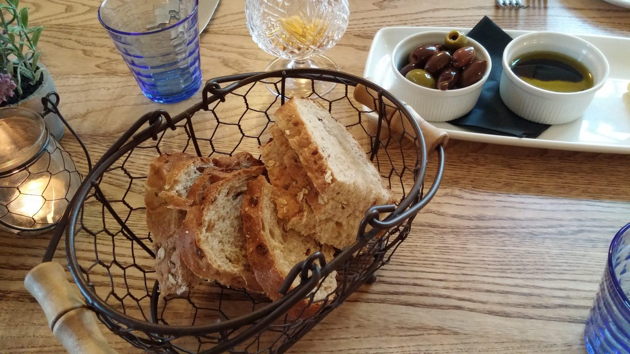 Artisan bread, olives, dipping oils
