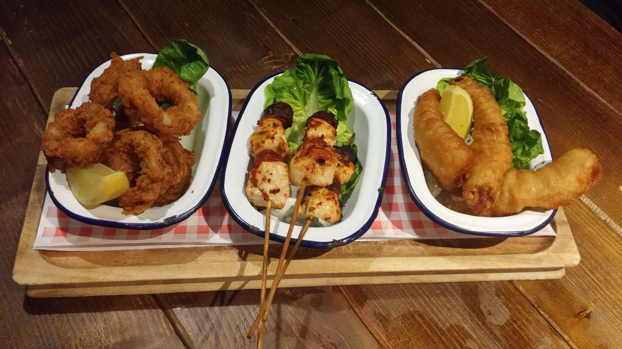 L-R: Calamari, Chicken, Fish Skewers