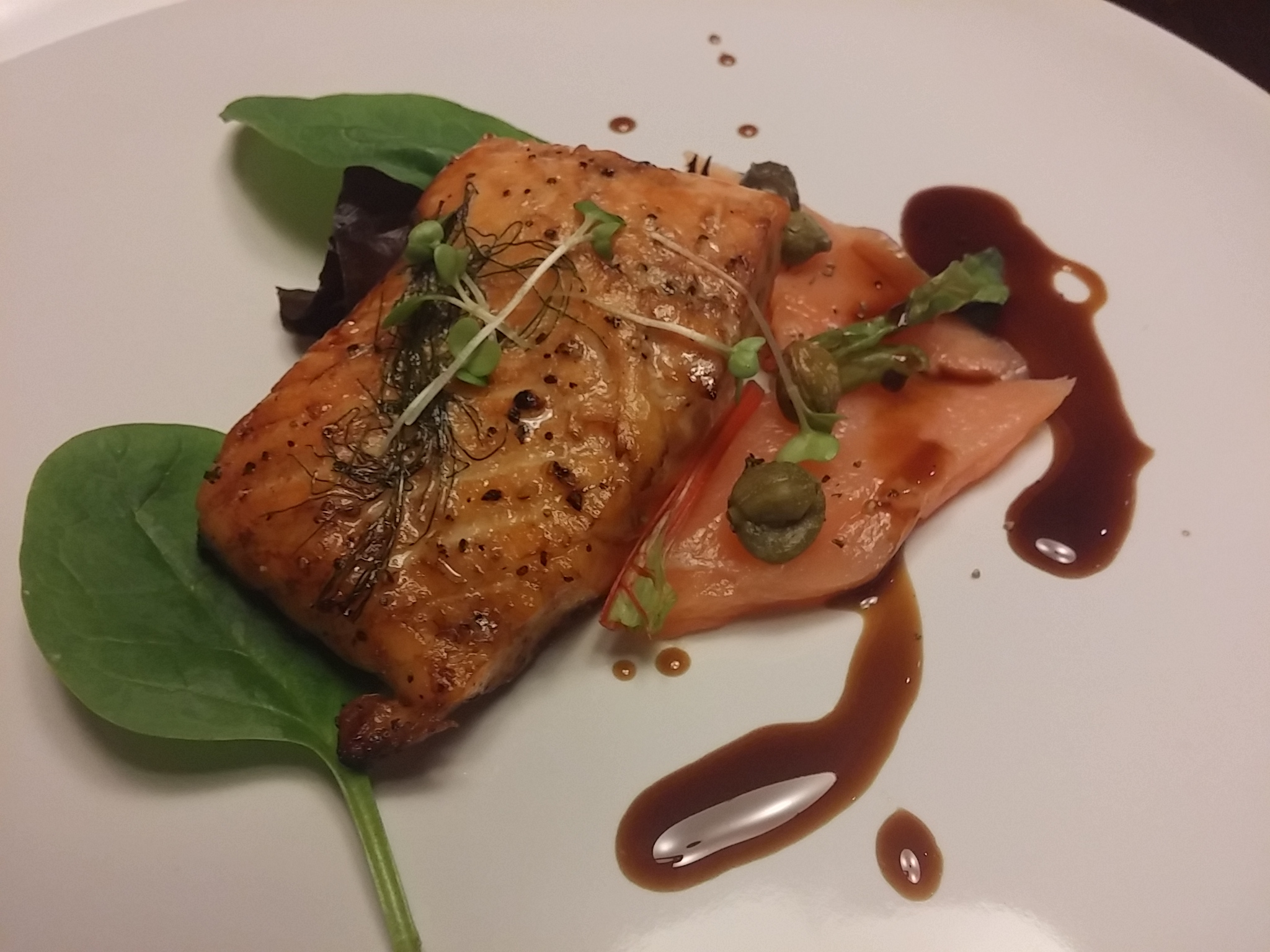 Salmon cooked two ways, teriyaki sauce.