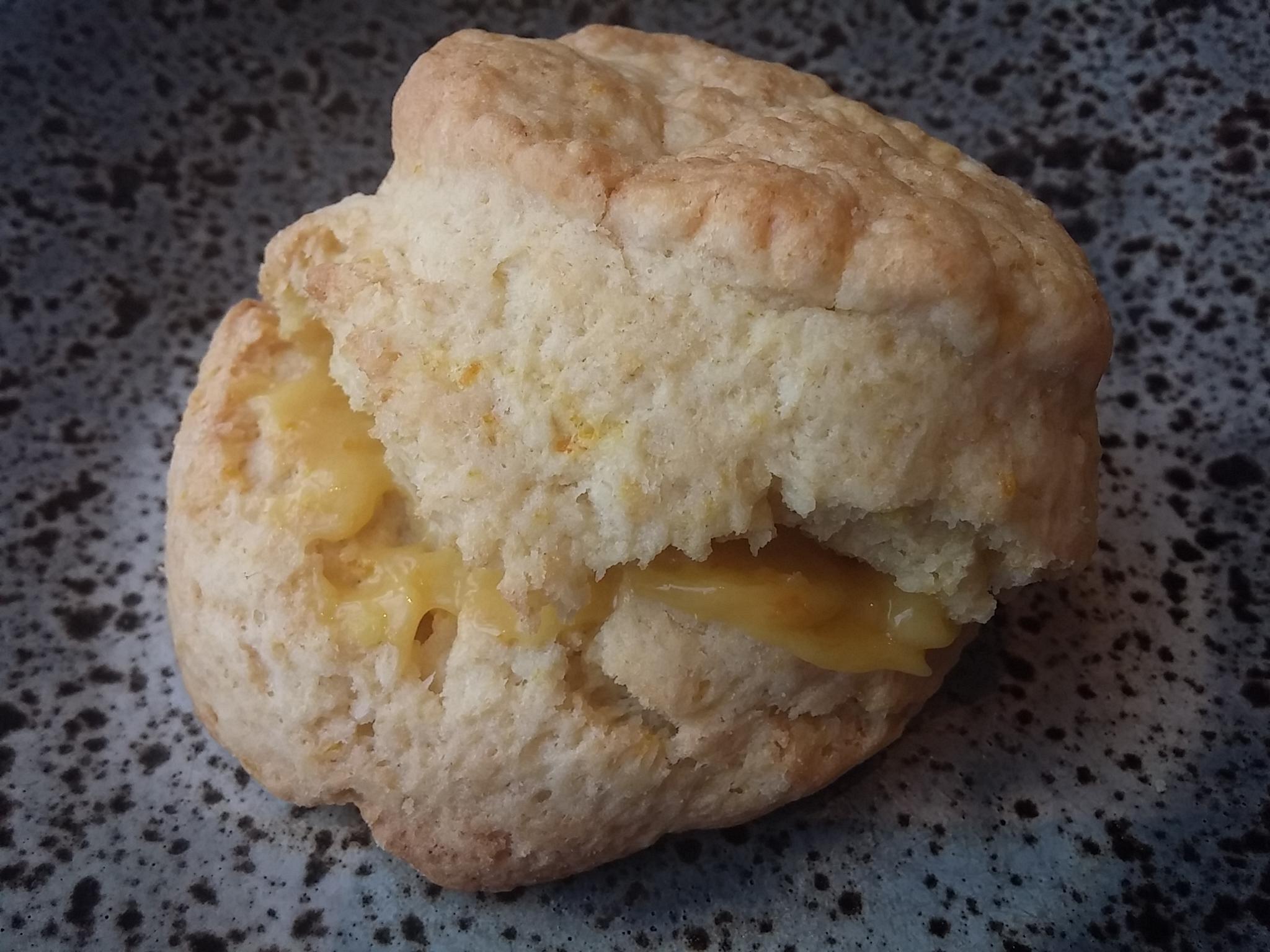 Orange blossom scone, orange curd
