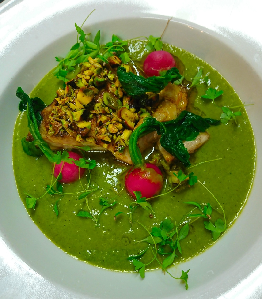 Pan seared hake fillet, parsley & wild rocket vichyssoise, garnished with blanched radish