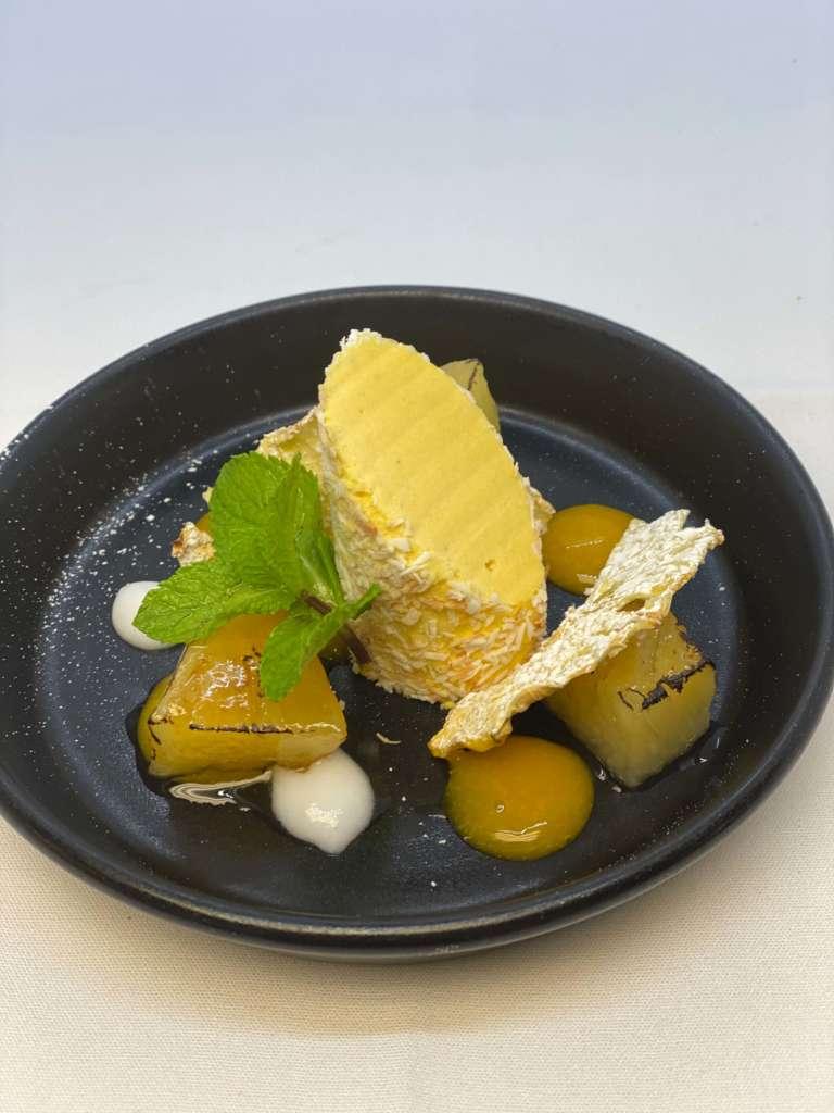 Iced mango parfait, coconut, pineapple crisp