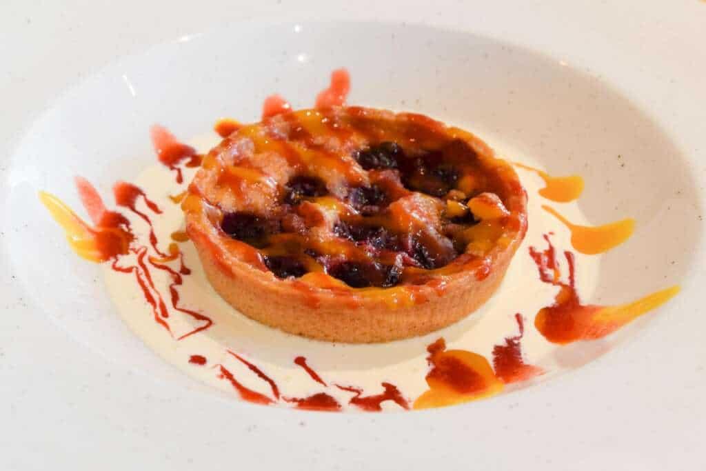 Warm Morello cherry tart