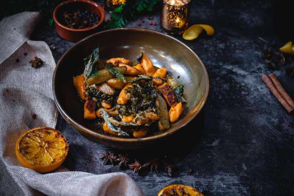 Pumpkin and Sage Dumplings with Braised Kale & Jerusalem Artichoke from Sam's Chop House Manchester