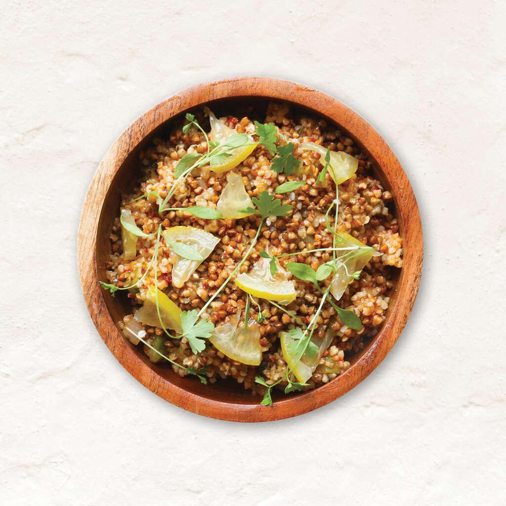 Vegan sweet piquillo pepper tabbouleh