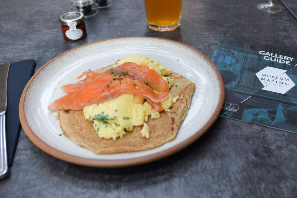 Lunch of salmon and traditional Derbyshire oatcake at The River Kitchen, Museum of Making, Derby